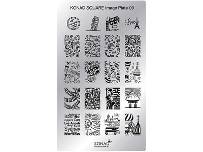 Placa de diseños rectangular KONAD. c09