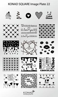 Placa de diseños rectangular KONAD. c22