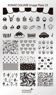 Placa de diseños rectangular KONAD. c25