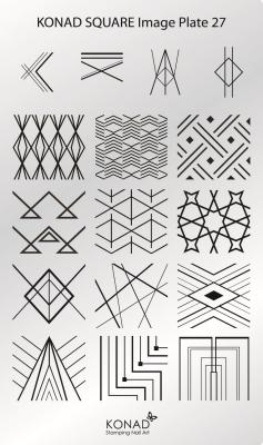 Placa de diseños rectangular KONAD. c27