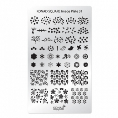 Placa de diseños rectangular KONAD. c31