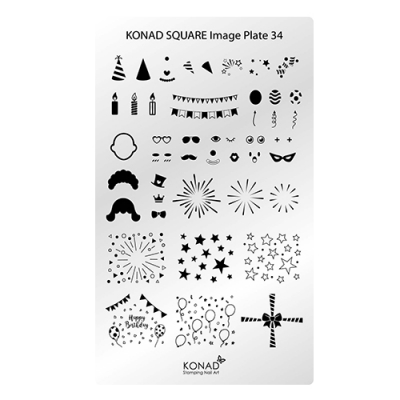 Placa de diseños rectangular KONAD. c34